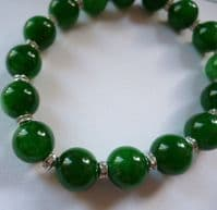 Dark Green Jade and Sparkling Crystal Bracelet